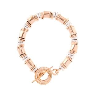Enticing Silver bracelet combined with gold.