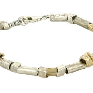A stunning combination of components made from 925 sterling silver and 14k rolled gold make this bracelet unique and funky. Approx length 20cm