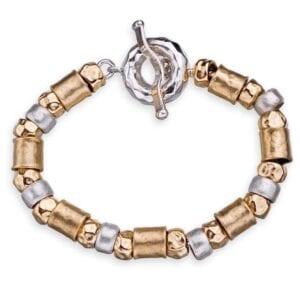 Sterling silver bracelet combined with 14k rolled gold.