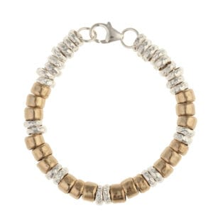 Trendy bracelet of 925 sterling silver and 14k rolled gold loops on a thick silver 925 chain secured with a lobster clasp. Approx length 20cm