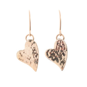 Gorgeous Dangling 9k Gold Hammered Finish Hearts on 14k Rolled Gold Hooks