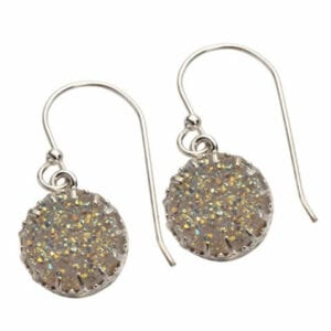 Stunning Earrings of Sparkling White Druzy Gem set on Sterling Silver