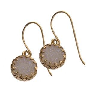 Stunning Sparkling White Druzy Gem Earrings Set on 14k Rolled Gold