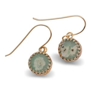 A Genuine Piece of 2000 Year Old Roman Glass, set on 14k Rolled Gold Earrings