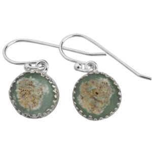 A Genuine Piece of 2000 Year Old Roman Glass, set on Sterling Silver Earrings