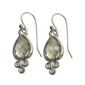 Lovely Ornate Sterling Silver Drop Earrings with Faceted Green Amethyst and Cubic Zirconia