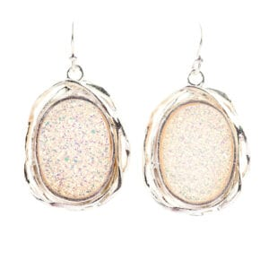Gorgeous Oval Sparkling White Druzy Gems set into Pretty Sterling Silver Drops