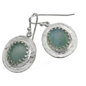 Delicate Sterling Silver Drops with Pretty Ornate Setting, around Genuine 2000 Year Old Roman Glass