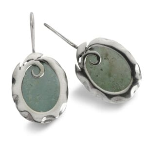 Adorable Sterling Silver Drop Earrings, Set with Genuine 2000 Year Old Roman Glass