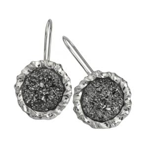 Stunning Sterling Silver Earrings Set with Sparkling Platinum Druzy Gems