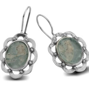 Pretty Flower Shaped Drop Earrings in Sterling Silver, Set with Genuine 2000 Year Old Roman Glass