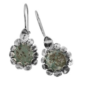 Cute Daisy Drop Sterling Silver Earrings, Set with Genuine 2000 Year Old Roman Glass