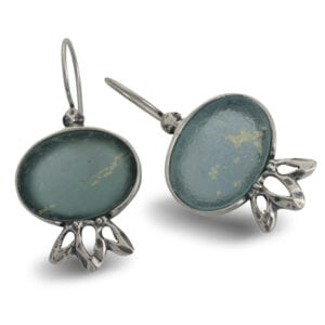 Sweet Sterling Silver Drop Earrings Set with Genuine 2000 Year Old Roman Glass