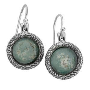 Sterling Silver Drop Earrings with Roman Glass