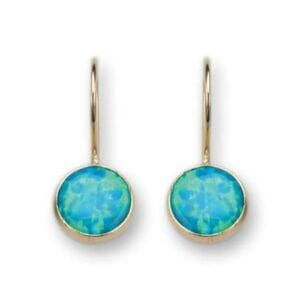 Gorgeous gold earrings set with opalite.