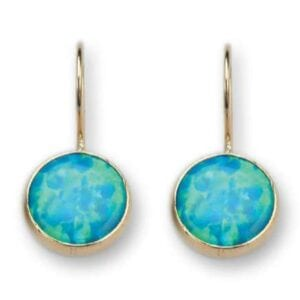9k gold earrings set with opalite.