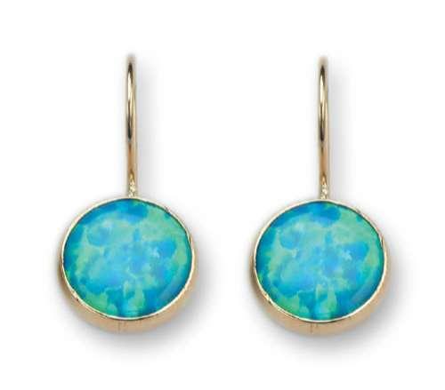 9k gold earrings set with opalite.