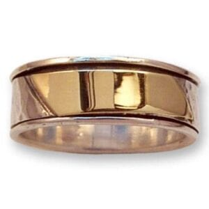 A gorgeous silver and gold revolving ring.