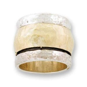 Spinning silver and gold ring