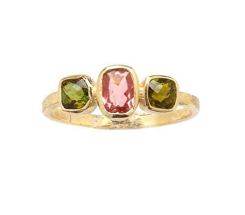 Gold ring with Tourmaline gems