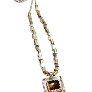 Stunning Hand Crafted Necklace Sterling Silver Coriana Chain with 14k Rolled Gold and Silver Beads. Silver Square Pendant set with Smoky Quartz surrounded by 9k Gold