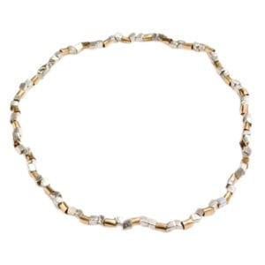 Gorgeous Collar Style Necklace of Sterling Silver and 14k Rolled Gold