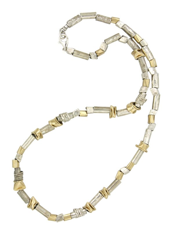 Stunning Collar Style Necklace with a combination of Sterling Silver and irregular shaped 14k Rolled Gold Components