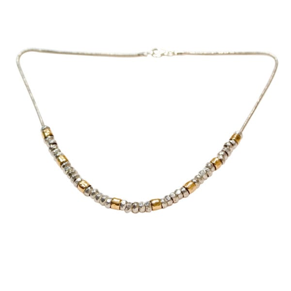 Lovely combination of Sterling Silver and 14k Rolled Gold beads on a Sterling Silver Chain