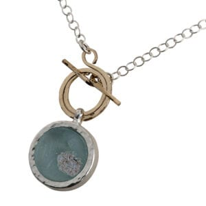 Sterling Silver Loop Chain Necklace with a front fastening 14k Rolled Gold spiral adorned with a pendant of genuine 2000 year old Roman Glass