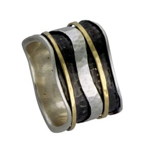 Alluring silver and gold spinning ring