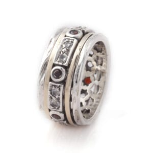 Gorgeous silver and gold ring set with Cubic Zirconia