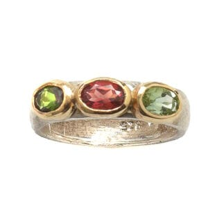 Exquisite silver and gold ring with Tourmaline gems