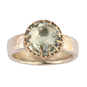 Alluring silver and gold ring with Green Amethyst