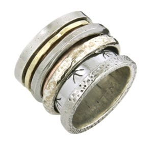 Stunning revolving silver and gold ring