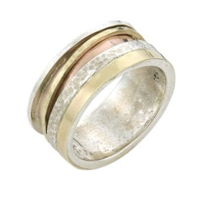 Dazzling silver and gold spinning ring