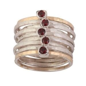 Beautiful silver and gold ring with Garnets
