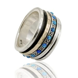 Gorgeous silver and gold spinning ring with Opalite