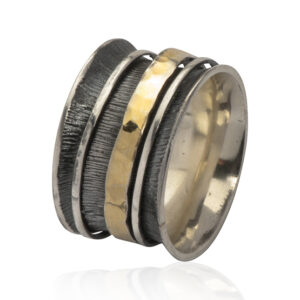 Chunky silver and gold ring