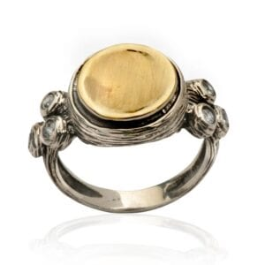 Gorgeous silver and gold ring with C.Z