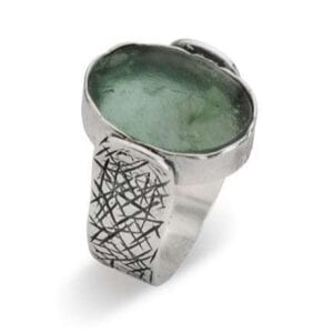 Sterling silver ring set with Roman Glass