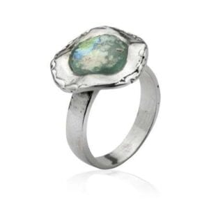 Elegant Sterling silver ring set with Roman Glass
