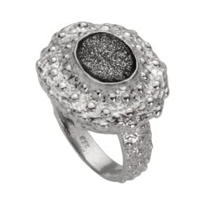 Magnificent silver ring with Druzy Platinum
