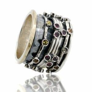 Tourmaline spinning ring