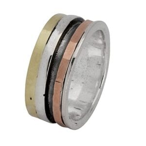 Enticing spinning silver and gold ring