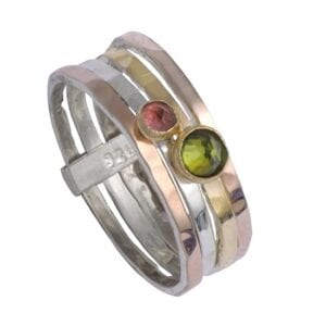 Stunning silver and gold ring with Tourmaline gems