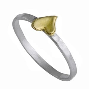Delicate sliver and gold ring with a heart motif
