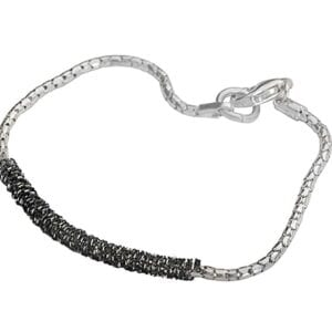 silver bracelet 925, shiny and oxdised finish with a fine silver chain