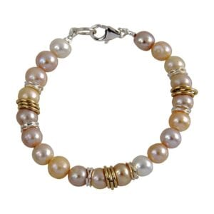 Attractive bracelet, Gorgeous pearls, 14k red and yellow rolled gold, silver hammered components, beautiful silver clasp