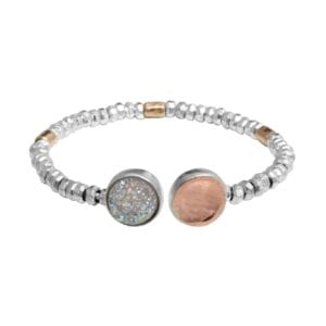 Enticing sterling silver bangle combined with 14k rolled gold with Druzy gem