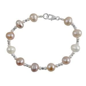 Elegant Pearl bracelet, hammered sterling 925 components, beautiful pearls.